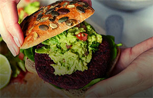Holly White's Blackbean & Beetroot Burgers with Guacamole